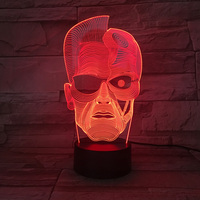 Creative 3D Abstract Shape 7 Color Change Led Head Modelling Night Lights Table Lamp Usb Bedside