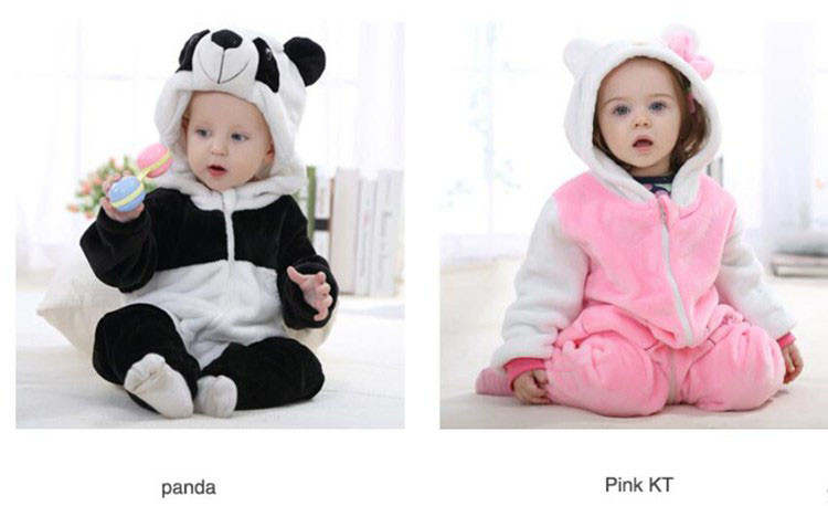 Kawaii Hello Kitty Panda Baby Girls Clothes Animal Baby Rompers Costume Winter Fleece Clothes For Boys Warm Snowsuit Jumpsuit (3)