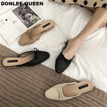 Women Brand Flat Slippers Summer Slides Bowtie Shallow Square Toe Mule Breathable Knitting Flip Flops Platform Shoes