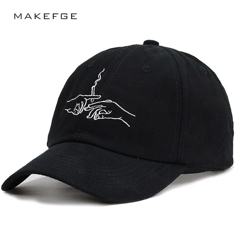 high quality Smoke   Baseball     Cap   Dad Hat For Men Women Embroidery Hand Smoke Pattern Trucker   Cap   Weed Bone Golf Hat cool style