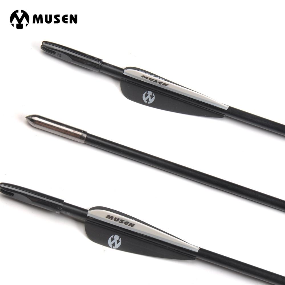 6/12/24 stks 80 cm Spine 1200 Diameter 6mm Glasvezel Pijl met Zwart-wit Veer voor Recurve Boog Training Archer