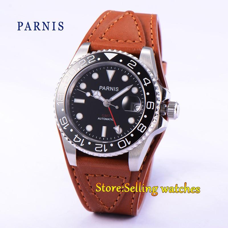 Parnis 40mm black dial date luminous GMT ceramic bezel Automatic men's watch