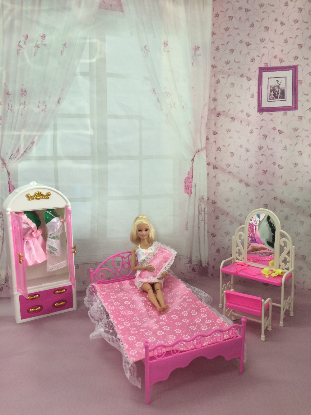 купить Free Shipping One Set Doll Furniture Wardrobe+ Dresser +Chair + Bed+Pillows Accessories For Barbie Doll Girl Play House Baby Toy недорого