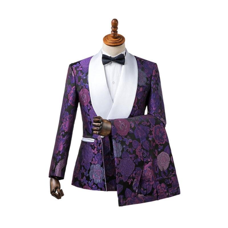 Erkek Kıyafeti'ten T. Elbise'de Gwenhwyfar Custom Made Lüks Mor Smokin Kruvaze Jakarlı Erkek Groomsmen Kostüm Homme Terno Slim Fit 2 Adet'da  Grup 1