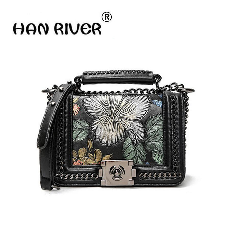 2018HANRIVERBrand fashion print bag female autumn and winter new chain cross-body bag genuine leather handbag with shoulder bag 2017 120cm diy metal purse chain strap handle bag accessories shoulder crossbody bag handbag replacement fashion long chains new