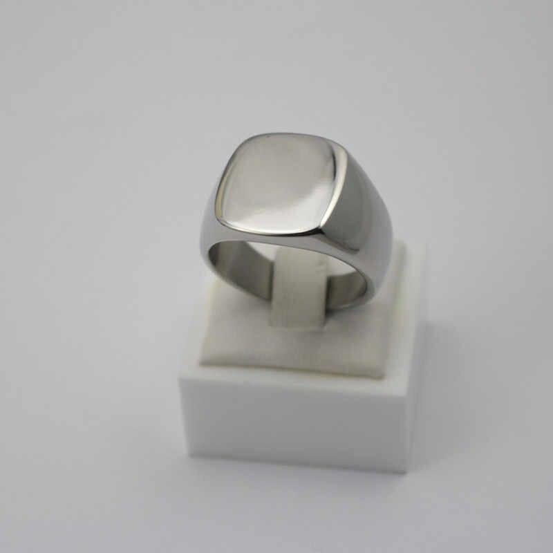 โรงงานทำให้โลโก้ของคุณเองออกแบบสแตนเลสแหวนครบรอบพรรคแหวนนิ้วธรรมดาตารางแหวนสำหรับผู้หญิงบุรุษ