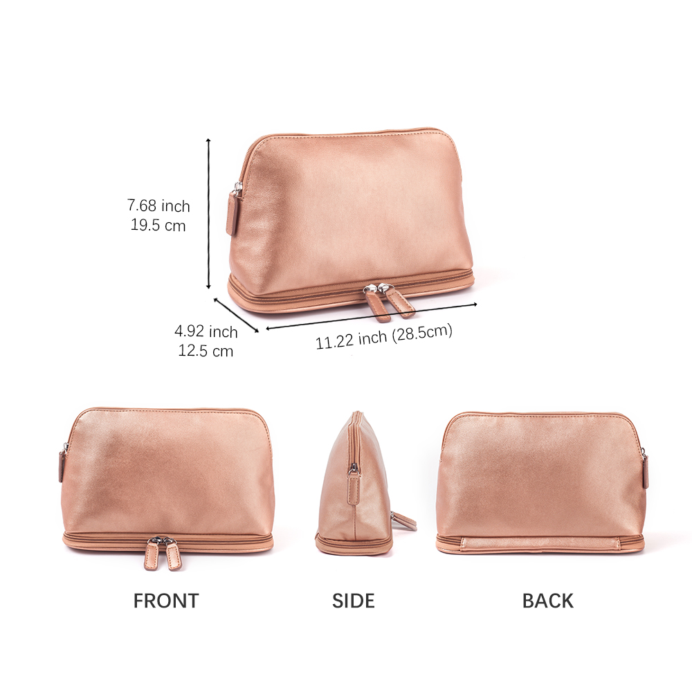 Mealivos Rose Gold Handbag Case Makeup Cosmetic Storage Bags Pouch Travel Kit Organizer