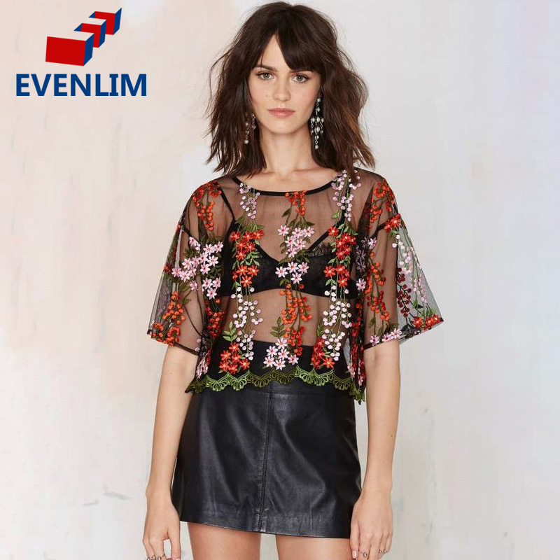 Evenlim 2017 Brand T Shirt Women Floral Embroidery T Shirt