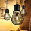 País americano corda de cânhamo restor droplight lustre de ferro forjado Criativo café loja de decoração da lâmpada