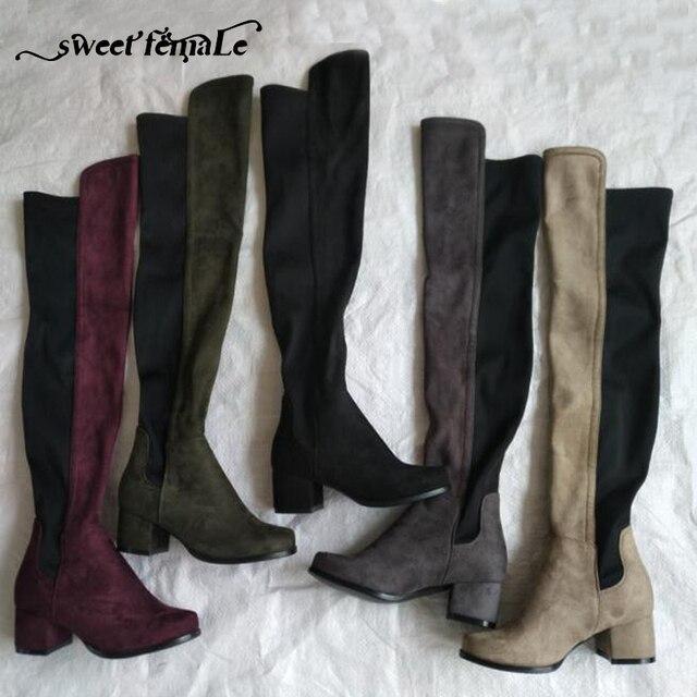 الحلو الإناث 2017 الخريف الشتاء اللون خياطة الأزياء مرونة الجلد المدبوغ أحذية سميكة مع النساء أحذية طويلة الأحذية حجم كبير 43