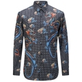 2017 New Polka Blue Dragon Printed Men Shirts Fashion Casual Designer Brand Camisa Masculina T0162