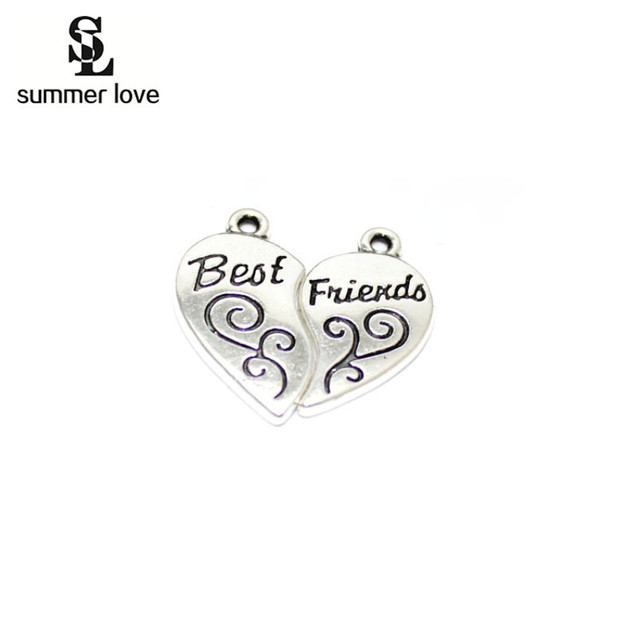 Summer Love 40 Pcs Diy Best Friend Charms Pendants Broken Heart Charm For Bracelets Necklace Jewelry