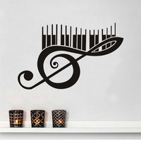 Large Size Piano Music Note Wall Decals Vinyl Removable Art Murals Creative Wall Stickers Home Decor Living Room Wholesale