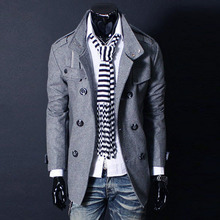 Men Autumn Woollen Overcoat Double breasted Pockets Turn down Collar Thick Coat TT 88