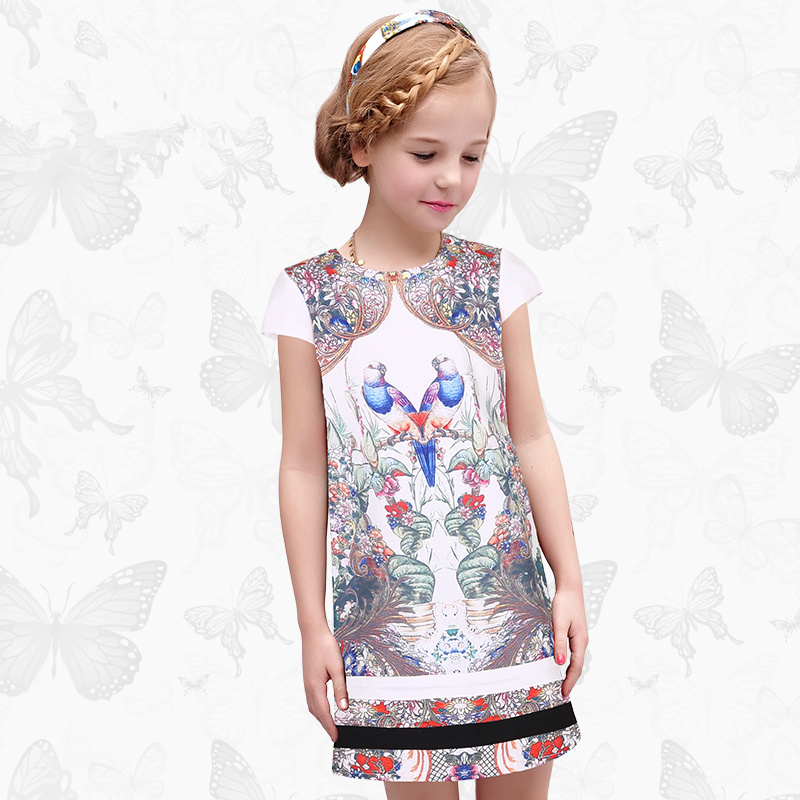 Enfant en bas âge filles robes enfants vêtements 2017 marque princesse robe pour filles vêtements poisson imprimer enfants perles robe 1 34