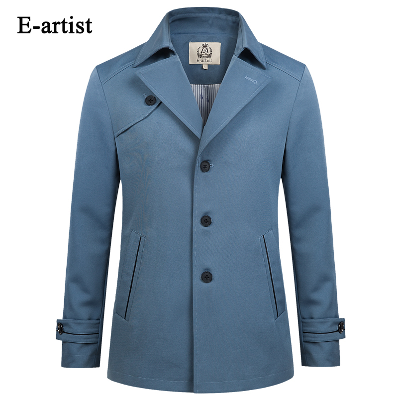 E artist Mens Slim Fit Business Casual Single Breasted Trench Coat Spring Autumn Overcoat Jacket Short