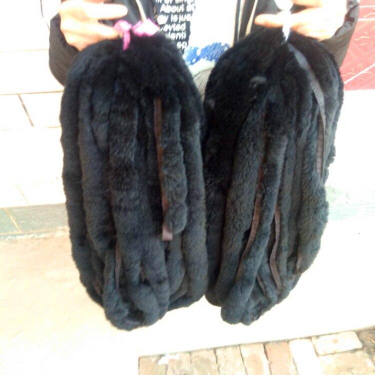 Bandes de fourrure de lapin de couleur noire/découpe de la fourrure de peau de lapin véritable pour accessoire de vêtement - 4