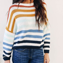 Harajuku Sweater Loose Korean Striped Casual Women PEONFLY for Colorful Pullovers Jumper