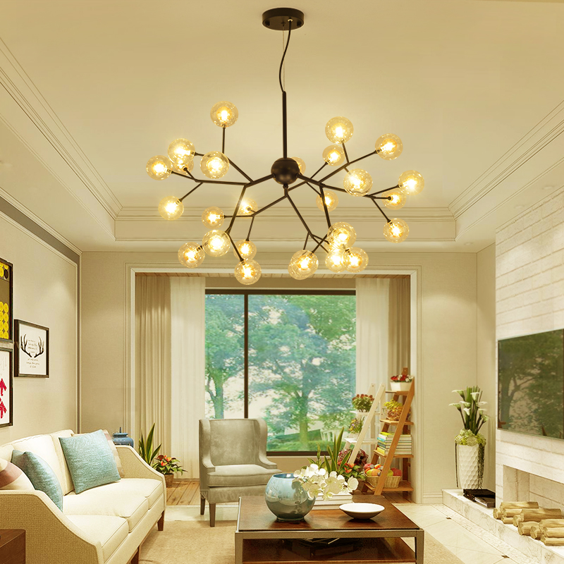 Post-modern Nordic living room glass ball pendant light creative designer restaurant bedroom fashion art branch pendant lamp modern circle tree branch led pendant light creative personality firefly dia 210cm nordic living room restaurant hall lobby lamp