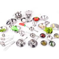 41PCS Play House Toys Kitchen Toys Kit Super Drop Resistant Stainless Steel Boys And Girls Toy Children's Role Play Kitchen Sets