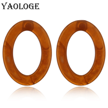 YAOLOGE Acrylic Fashion Earrings Classic Creative Oval Personality Bohemian Style For Women Vintage Statement Accessories New