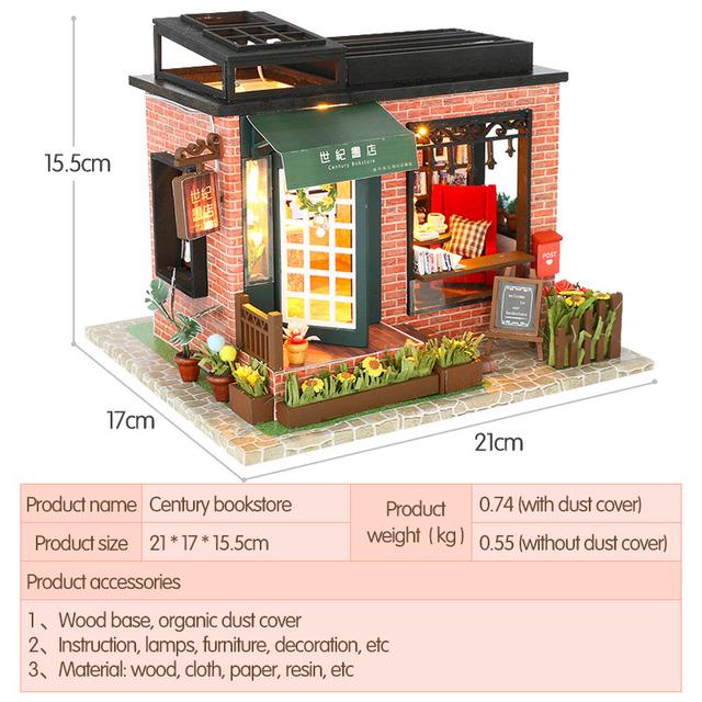 Doll House with Furniture Wooden DIY Miniature Miniaturas Dollhouse CENTURY BOOKSTORE Children Christmas Birthday Gift Toys