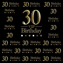 Feliz Aniversário 30th Photo Booth Fundo Preto Impresso Personalizado Textos Partido Temático Personalizado Fotografia Vinil pano de Fundo
