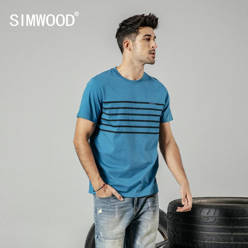SIMWOOD 2020 Summer New Causal T Shirt Men Striped Fashion Tshirt 100% Cotton High Quality Brand Clothing 190211