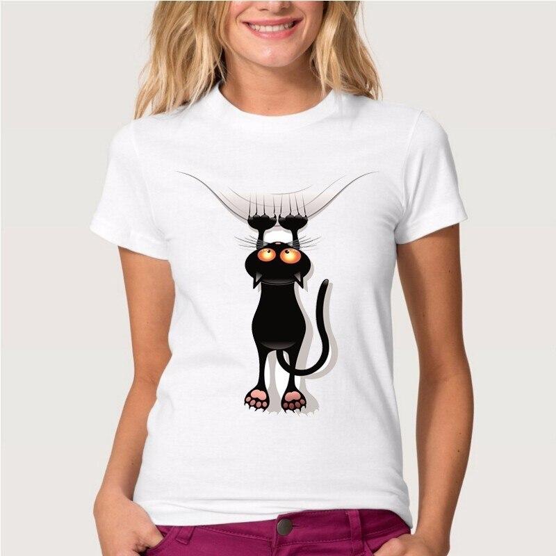 2017 verano negro naughty Originalidad gato encantador 3D T Camisa de Las Mujere