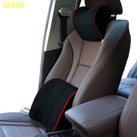 Car neck pillow back support seat headrest memory foam cotton chair cover office auto travel mesh fabric lumbar cushion for car