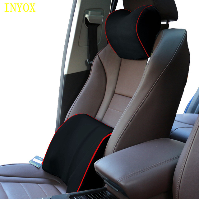 Chair Covers For Headrest Stool Gold Car Neck Pillow Back Support Seat Memory Foam Cotton Cover Office Auto Travel Mesh Fabric Lumbar Cushion