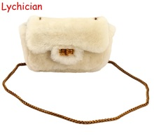 Fall winter hotsale real sheep fur hair +genuine leather women shoulder bag Luxury brand designer chan style warm feminina bag
