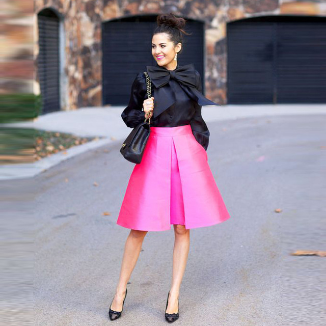 a1afeef4b 2017 Trendy Hot Pink Women Skirt with Pockets High Waist Knee Length  Pleated Midi Skirts for Ladies to Office Custom Made