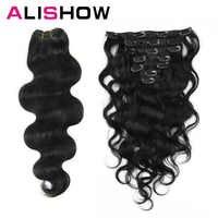 Alishow Körper Welle 100g Clip in Menschliches Haar Extensions Maschine Made Remy Haar 100% Menschliches Haar Extensions Volle kopf Natürliche Haar