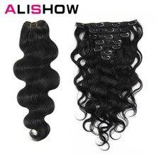 Alishow волнистые человеческие волосы для наращивания на заколках, 100 г, волосы remy для наращивания, человеческие волосы для наращивания на всю голову, натуральные волосы