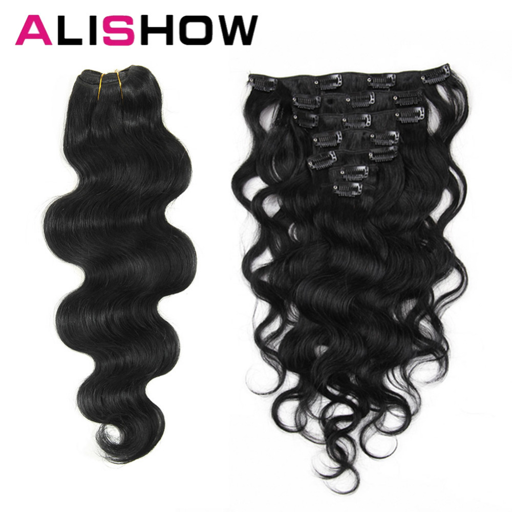 Alishow Body Wave 100g Clip In Human Hair Extensions Machine Made Remy Hair 100% Human Hair Extensions Full Head Natural Hair