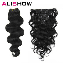Alishow Body Wave 100g Clip in Human Hair Extensions Machine Made Remy Hair 100 Human Hair