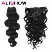 Alishow Body wave 100g Clip in Human hair extensipons Machine Made Remy Hair 100% Human Hair Extensions Full Head Natural Hair