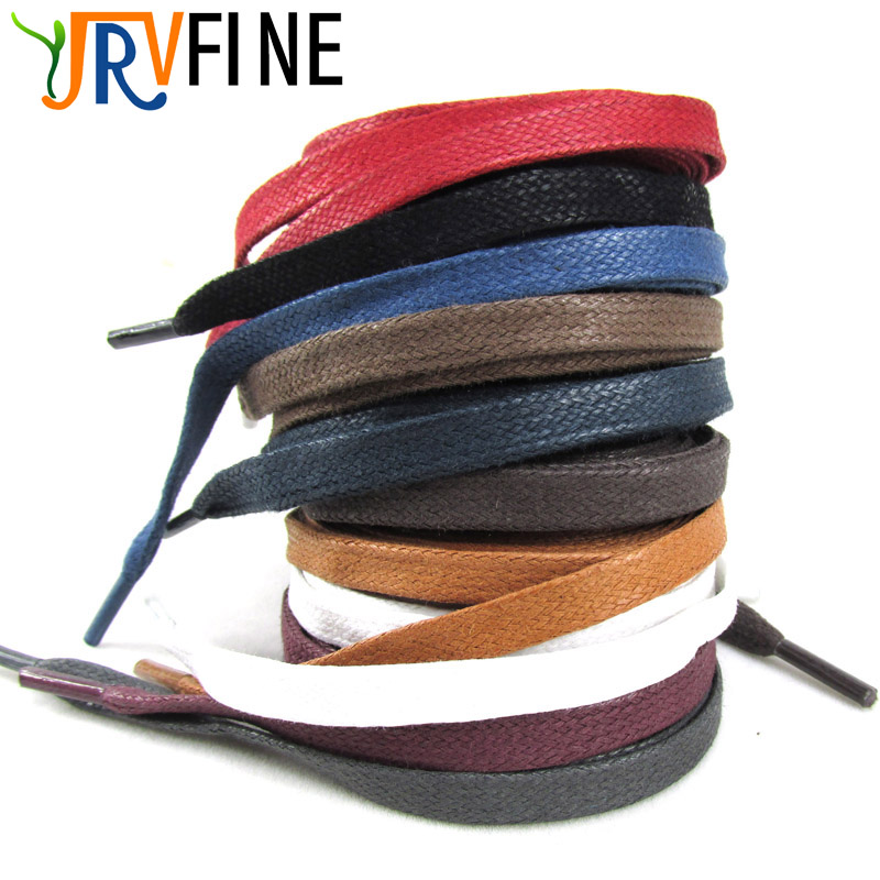YJRVFINE 1Pair Flat Shoe Rope High Quality Waxed Cotton Flat Shoelaces Waxed Wax Dress Shoe Laces for Boots Leather Casual Shoes high quality 1 pair right