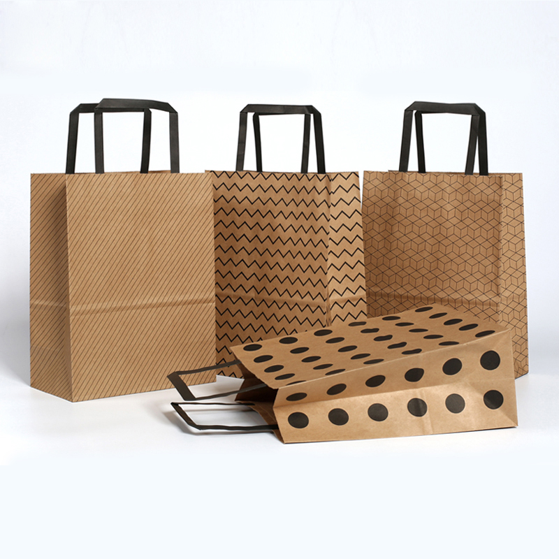 100% True 2pcs/set Kraft Paper Basic Pattern Candy Bags With Handles Cookie Cupcake Box Packaging Gift Bag Birthday Party Supplies Home & Garden