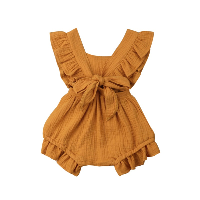 Summer Back Cross   Rompers   for Newborn Baby Girls Ruffle Sleeve Backless   Rompers   Solid Color Jumpsuit Baby One-Piece   Romper