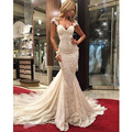 Manga Touca de Renda sereia Vestido de Noiva Com Catedral Trem Vestidos De Noiva Robe De Mariage vestidos de Casamento de Praia