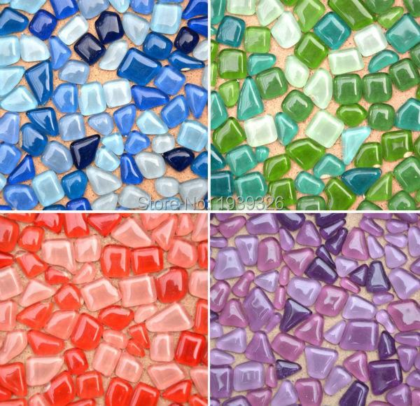 250g Mixed Color Irregular Glass Mosaic <font><b>Tiles</b></font> for Crafts *Glass Marbles Glitter Mosaic Beads For Flower Pot Vase Garden Supplies