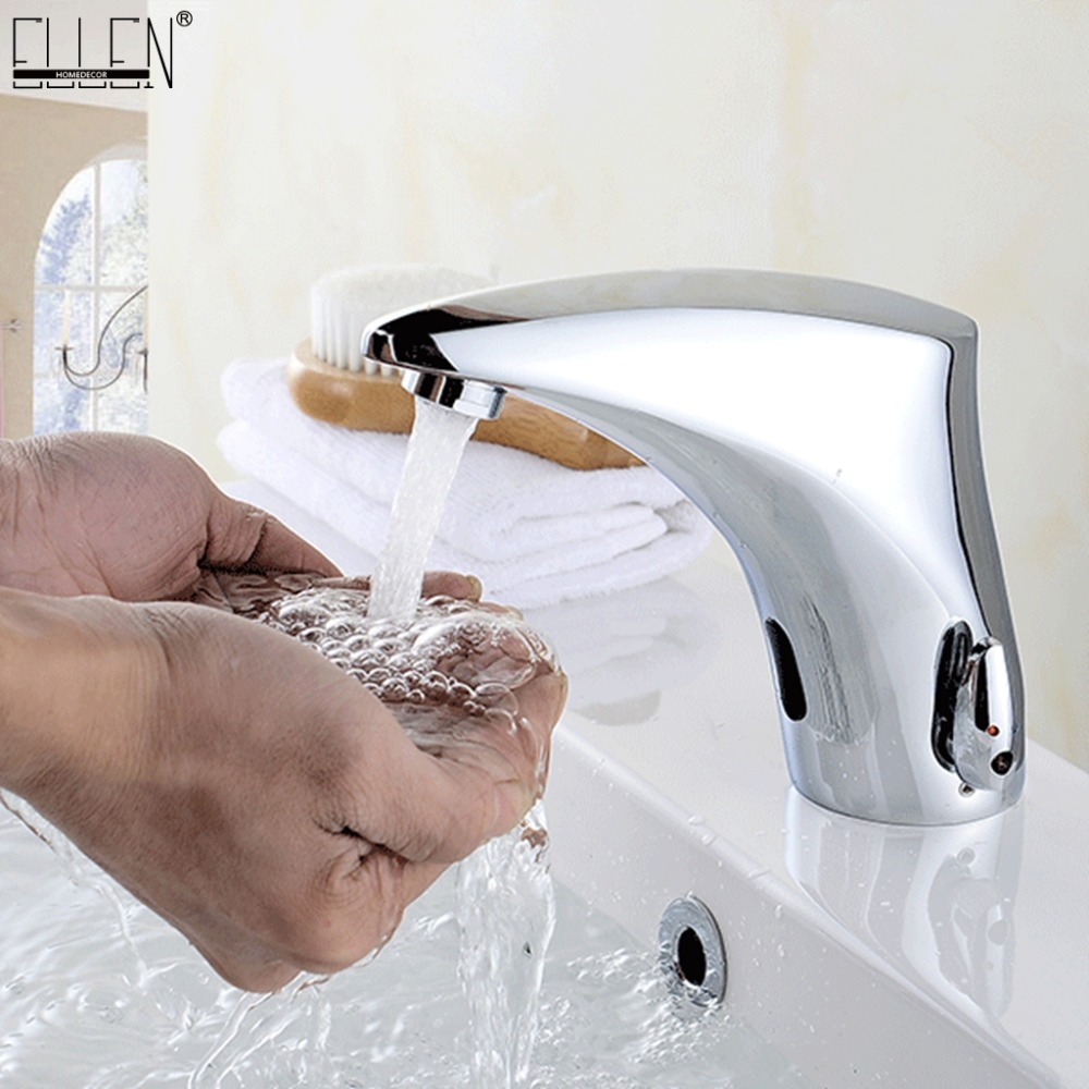 все цены на Bathroom Basin Sink Faucets Sensor Automatic infrared Bathroom Sink Faucet Touchless Hot and Cold Water Mixer Crane EL221