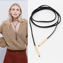 New Black Leather Suede  cord necklace fashion long bow collar statement necklaces for women collier Bijoux attacked