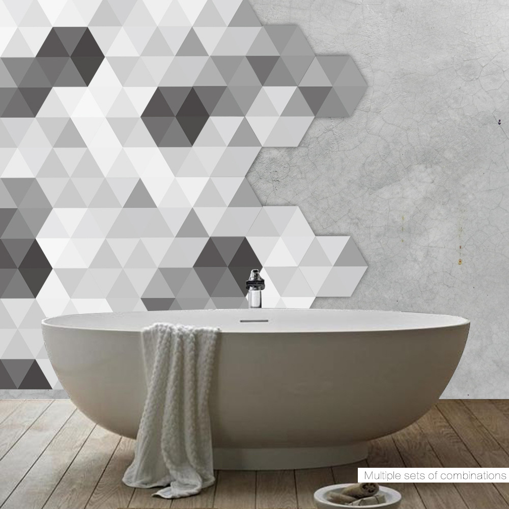 10pc Creative Decorative Sticker Waterproof Non slip Bedroom home decor Black And White Gray Bathroom Wall Ground Floor Stickers in Wall Stickers from Home Garden
