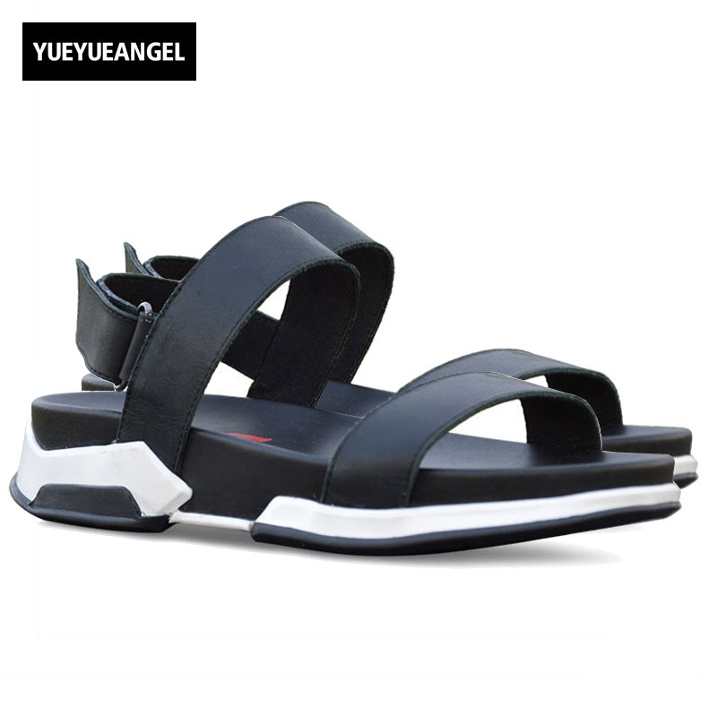 2018 New Ankle Strap Sandals For Men Casual Beach Holiday Shoes Male Genuine Leather Fashion Thick Platform Slipper Footwear men slippers genuine leather crocodile designer new 2018 brown blue beach holiday shoes flat slipper for men casual daily sandal
