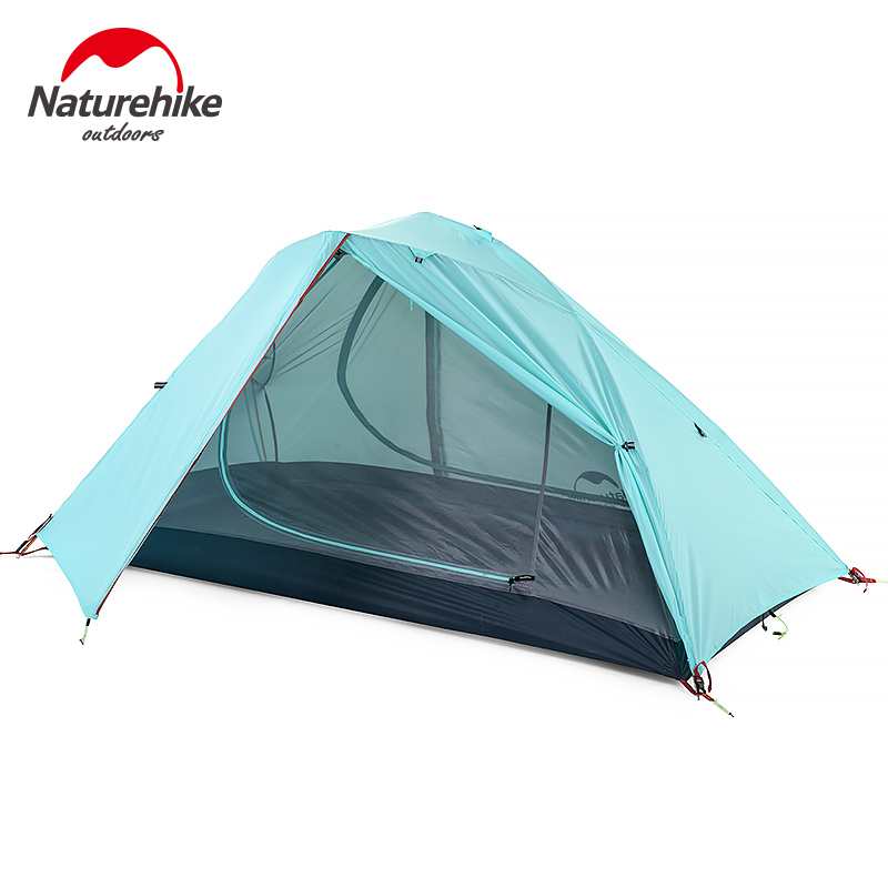 Naturehike 1-2 Person Camping With Free Mat Tent Double Layer Waterproof 3Season Backpacking Tent Ultralight For Outdoor Camping naturehike 3 person camping tent 20d 210t fabric waterproof double layer one bedroom 3 season aluminum rod outdoor camp tent