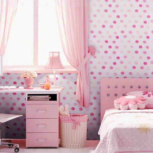 Vinyl Self adhesive Wallpaper Cute Dots Bedroom Background