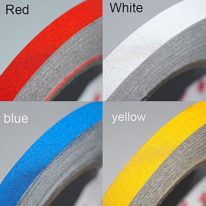 2CM X 3 Meter Car Styling Red Blue White Yellow DIY Reflective Sticker Auto Warning Luminous Strip Motorcycle Decoration Sticker
